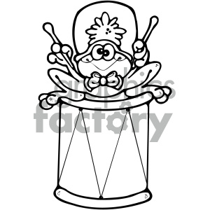 cartoon clipart frog 021 bw clipart. Royalty-free image # 404742