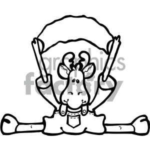 cartoon clipart moose 021 bw clipart. Commercial use image # 404766