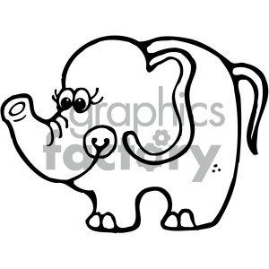 cartoon clipart Noahs animals elephant 002 bw clipart. Commercial use image # 404792
