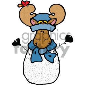 cartoon animals vector PR moose snowman