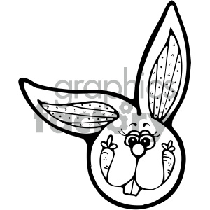cartoon black and white bunny head clipart. Royalty-free image # 404810