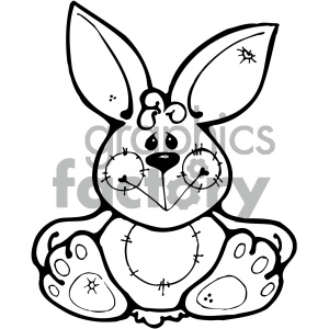 cartoon bunny 011 bw clipart. Royalty-free image # 404880