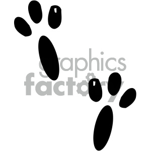 cartoon clipart animal tracks 003 bw clipart. Royalty-free image # 404910