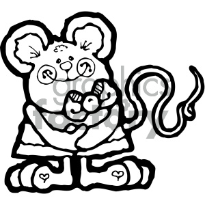 cartoon clipart mouse 007 bw clipart. Royalty-free image # 404920