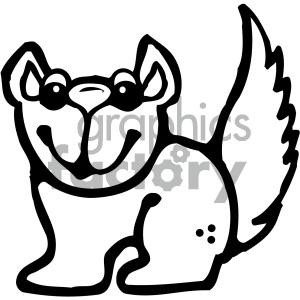 cartoon animals vector PR squirrel black+white