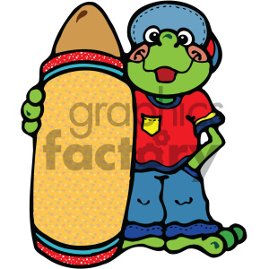 cartoon frog holding a large crayon clipart. Royalty-free image # 405010