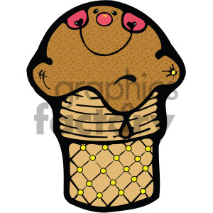 chocolate ice cream cone clipart