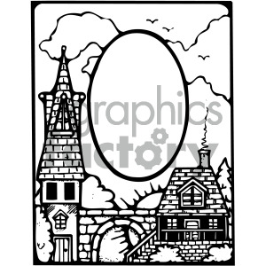 black white skyline cartoon scene clipart. Commercial use image # 405178