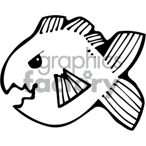 cartoon fish black+white