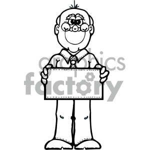 black and white cartoon man clipart. Royalty-free image # 405282