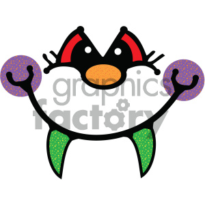 cartoon face with fangs vector clipart. Commercial use image # 405311
