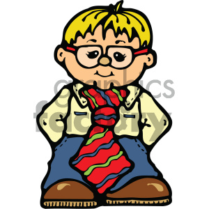 small cartoon wearing large tie clipart. Royalty-free image # 405369