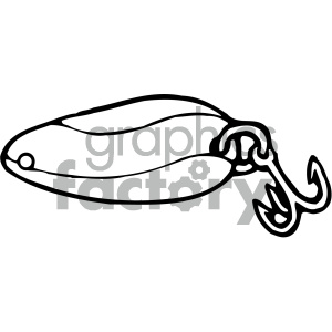 fishing lure 004 black white clipart. Commercial use image # 405441