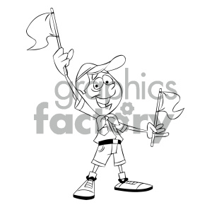 black and white cartoon boy scout character holding flags clipart. Royalty-free image # 405575