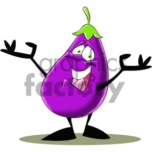 cartoon character mascot funny eggplant vegetable food healthy