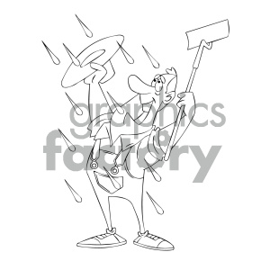 black and white cartoon farmer happy to see rain royalty free vector art clipart. Royalty-free image # 405625