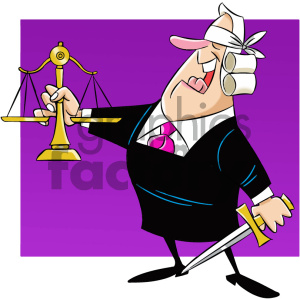 cartoon supreme court justice holding scale of blind justice