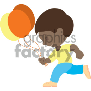 people cartoon child run running balloons fun african+american