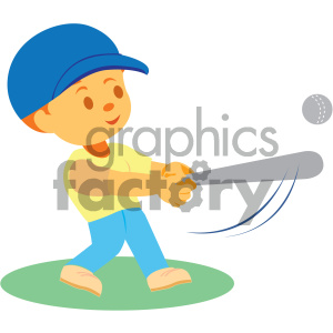 boy hitting a baseball vector illustration clipart. Commercial use image # 405980
