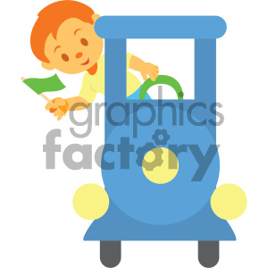 boy on a train vector illustration clipart. Royalty-free image # 405996