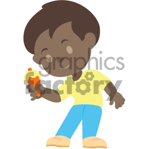african american boy eating ice cream vector illustration clipart. Commercial use image # 406000