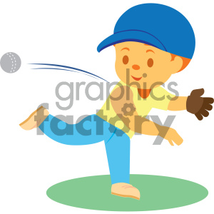 people cartoon child playing baseball throwing pitching