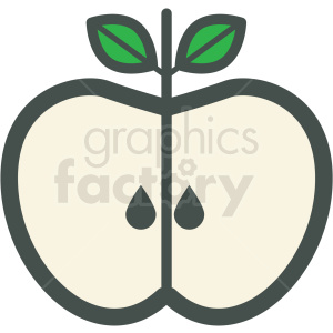 half apple vector icon clipart. Commercial use icon # 406422