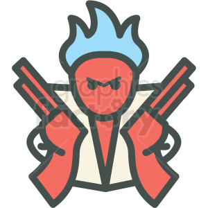 angry man with guns vector icon clipart. Commercial use image # 406458