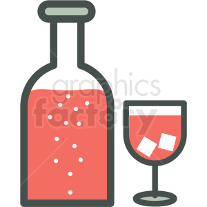 wine bottle and wine glass vector icon image clipart. Royalty-free image # 406570