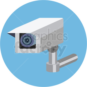 security camera vector flat icon clipart with circle background clipart. Commercial use image # 406670