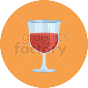 wine glass vector flat icon clipart with circle background