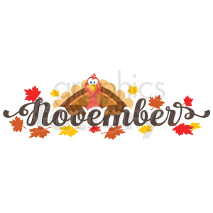 november header with turkey label clipart. Royalty-free image # 406949