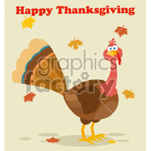 Thanksgiving Turkey Bird Cartoon Mascot Character Vector Illustration Flat Design With Background Autumn Leaves And Text Happy Thanksgiving clipart. Commercial use image # 406960