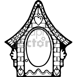 black and white frame cottage clipart. Commercial use image # 406980