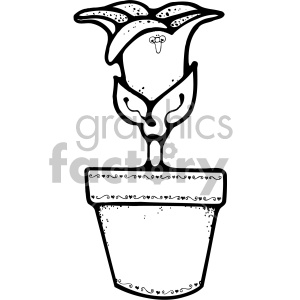 black and white tulip flower pot clipart. Royalty-free image # 406989