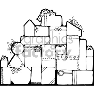 christmas gifts presents pile stack black+white