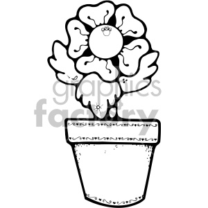 black and white pansy flower pot clipart. Commercial use image # 406991