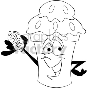 black and white cartoon ice cream mascot character with a chocolate coating