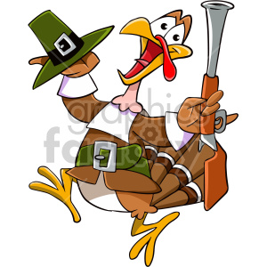 thanksgiving turkey cartoon character pilgrim scared running gun bird