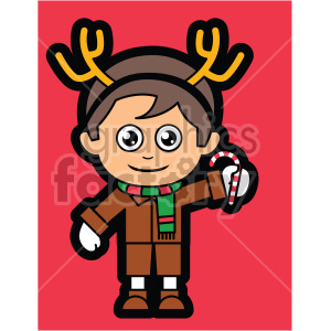 cartoon guy wearing reindeer antlers for christmas on red background vector clip art