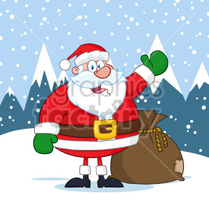 Happy Santa Claus Cartoon Mascot Character Waving Hand Drawing Vector Illustration Over Winter Background clipart. Royalty-free image # 407270
