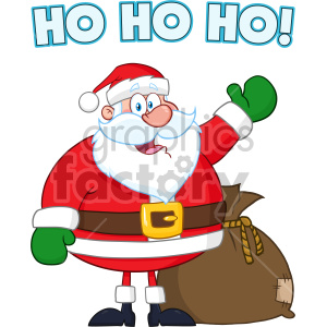 Happy Santa Claus Cartoon Mascot Character Waving Hand Drawing Vector Illustration Isolated On White Background With Text clipart. Royalty-free image # 407289