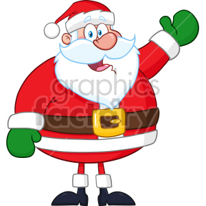 Happy Santa Claus Cartoon Mascot Character Waving Hand Drawing Vector Illustration Isolated On White Background clipart. Royalty-free image # 407290