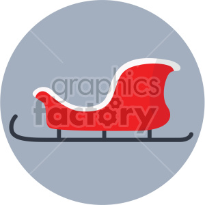 christmas sleigh on gray circle background icon