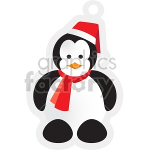 Penguin wearing santa hat tag clipart. Commercial use image # 407363