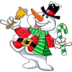 happy cartoon christmas snowman character clipart. Commercial use image # 407374