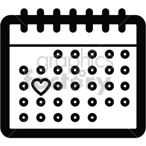 black and white calendar icon for valentines day