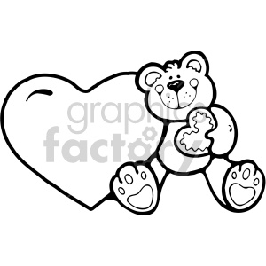 heart with teddy bear black white clipart. Royalty-free icon # 407513