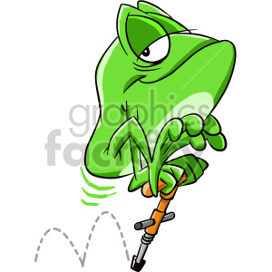 frog using pogo stick cartoon character clipart. Commercial use image # 407538