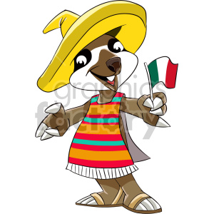cartoon mexican sloth clipart. Commercial use image # 407580